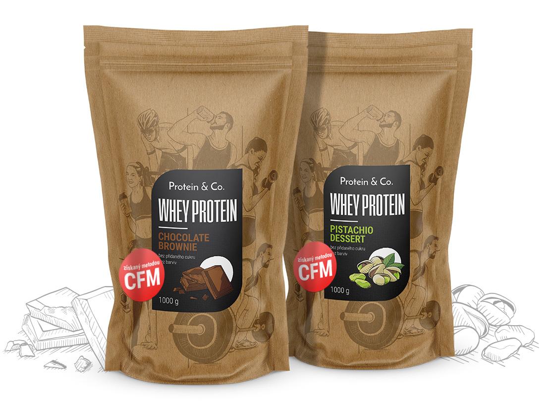Levně Protein&Co. CFM WHEY PROTEIN 80 2000 g ZVOL PŘÍCHUŤ 1: Chocobanana symphony, ZVOL PŘÍCHUŤ 2: Pistachio dessert