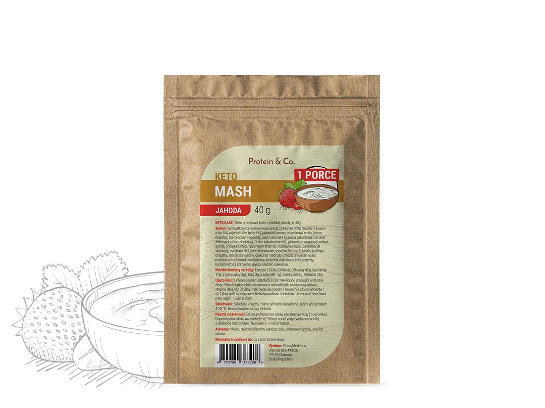 Levně Protein&Co. Keto mash – proteinová dietní kaše vzorek 40 g Příchuť: Jahoda