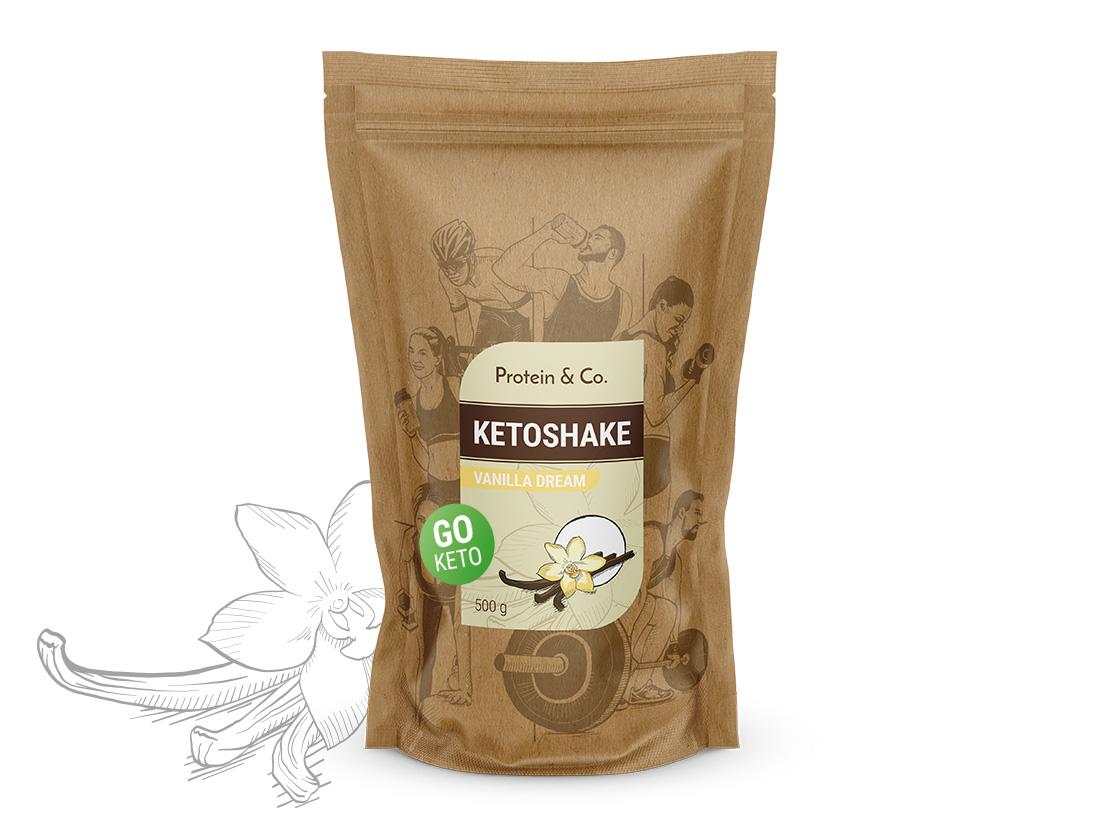 Protein&Co. Ketoshake – proteinový dietní koktejl 1 kg Množství: 500 g, Vyberte příchuť -: Vanilla dream