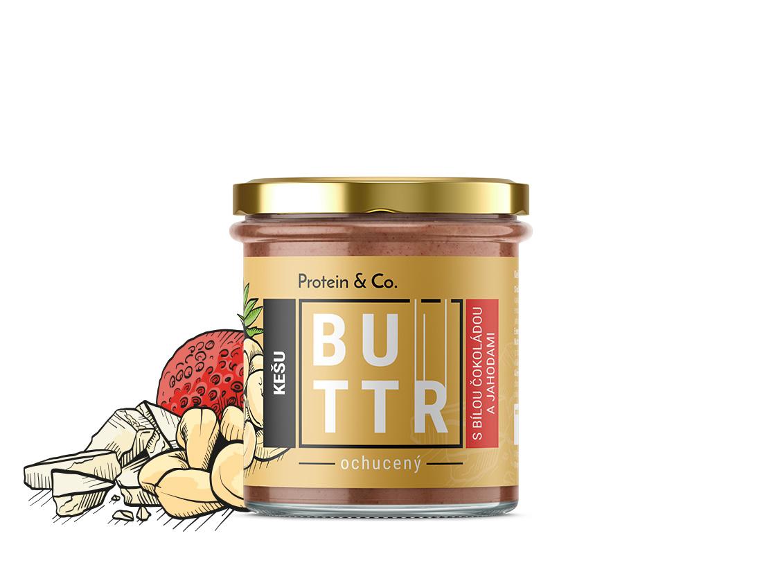 Protein&Co. Kešu krém s bielou čokoládou a jahodami 330 g