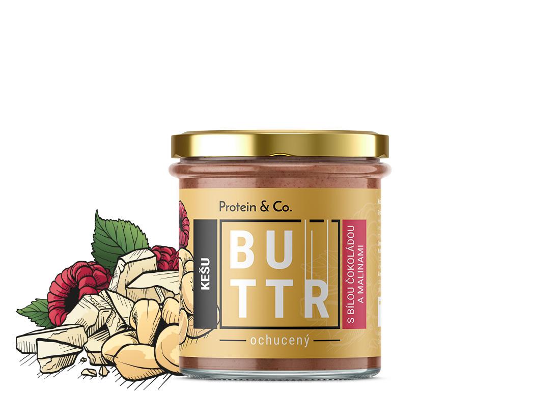 Protein&Co. Kešu krém s bielou čokoládou a malinami 330 g