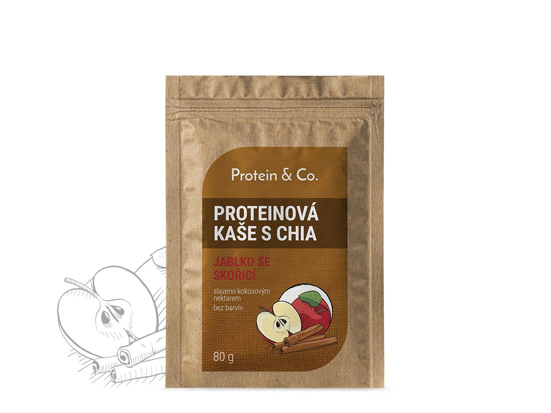 Protein&co. Proteínová kaša s chia 80 g Váha: 80 g, Příchuť: jablko se skořicí