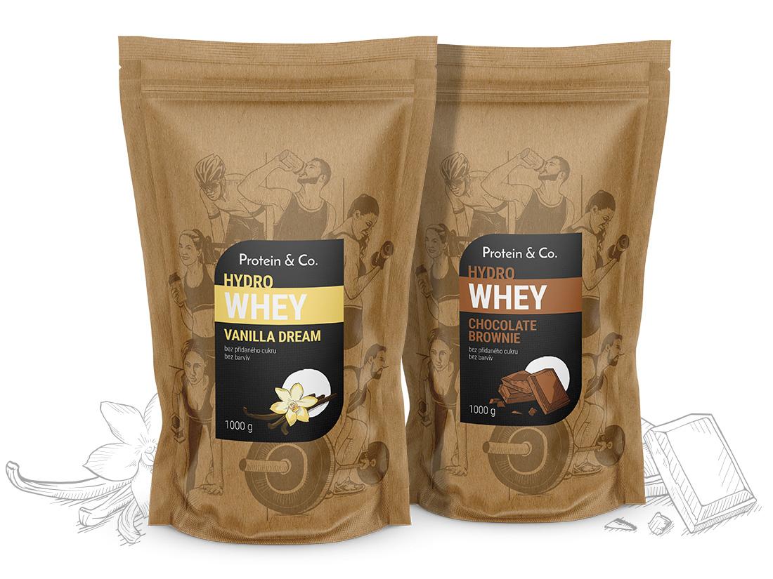 Protein&Co. HYDRO WHEY 2 000 g ZVOĽ PRÍCHUŤ 2: Vanilla dream, ZVOĽ PRÍCHUŤ 1: Chocolate brownie
