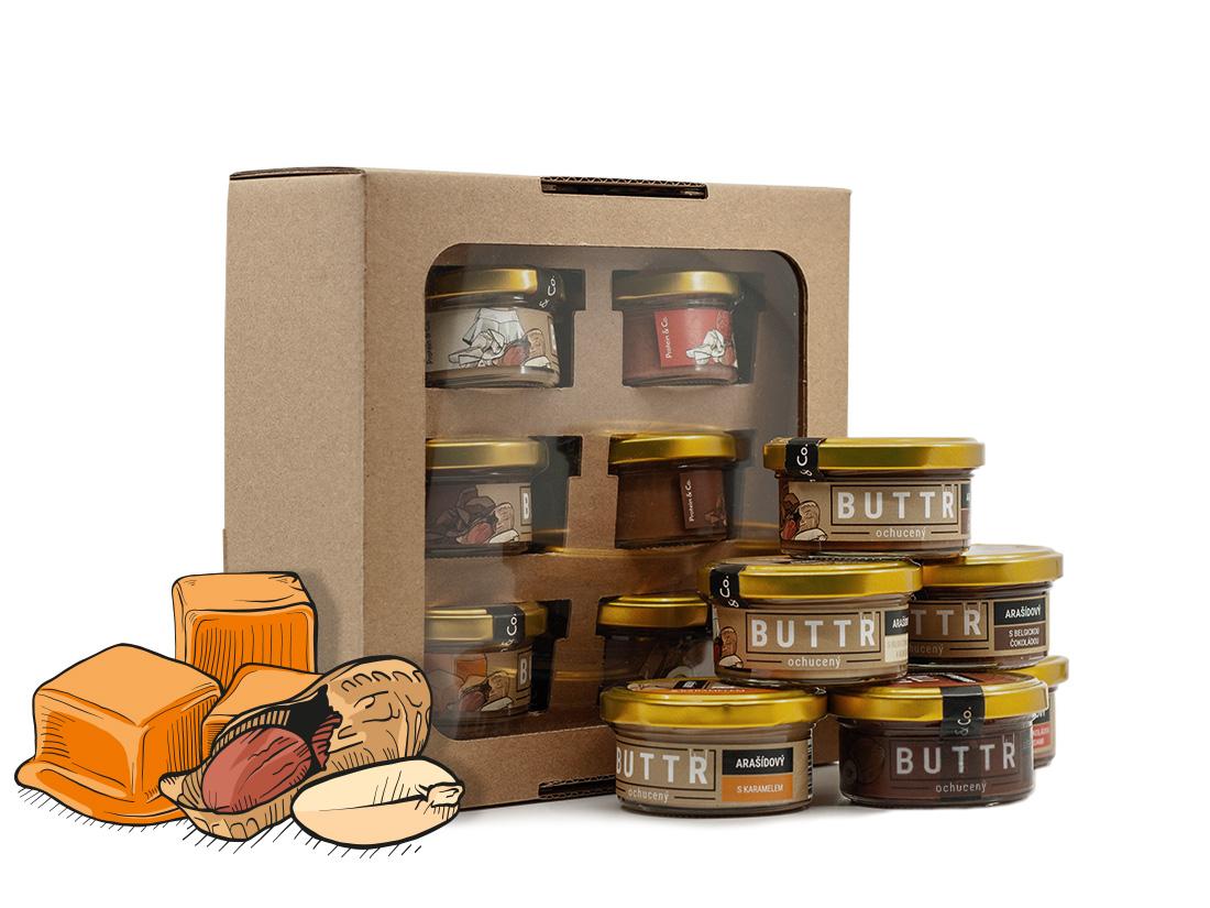 Protein&Co. Ochutnávková sada 6 krémov 1 (6×50 g – arašidové, lieskovoorieškový)