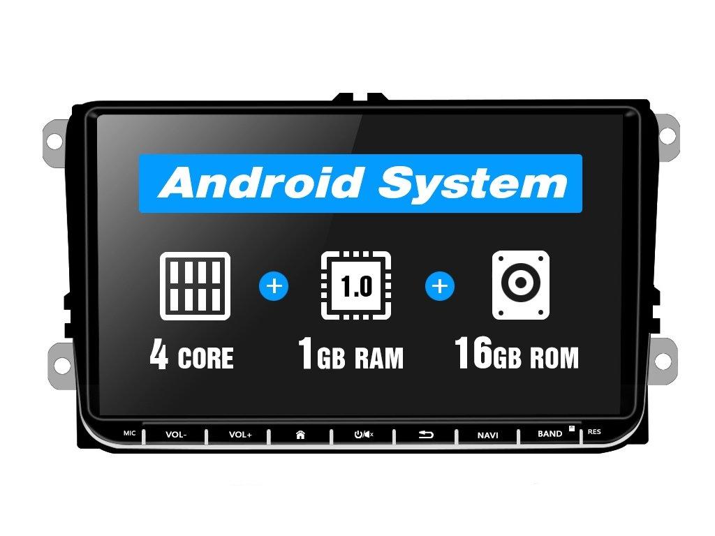 2din autoradio Android pro Škoda, VW, Seat