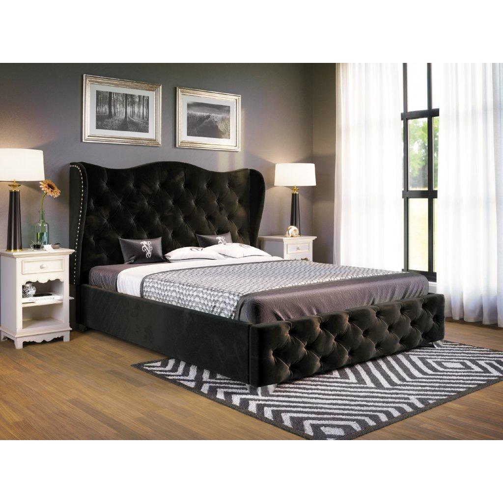 PROXIMA.store Čalúnená posteľ Bolonia čierná 1