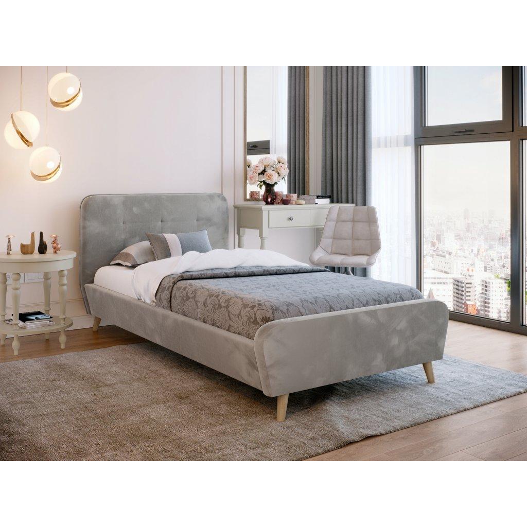 PROXIMA.store Čalúnená jednolôžková posteľ TIFFANY svetlosivá 90x200 1