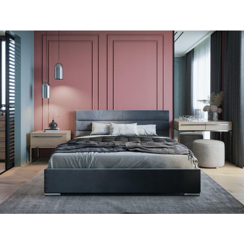 PROXIMA.store moderna calunena postel bari s nadcasovym dizajnom tmavosiva 1
