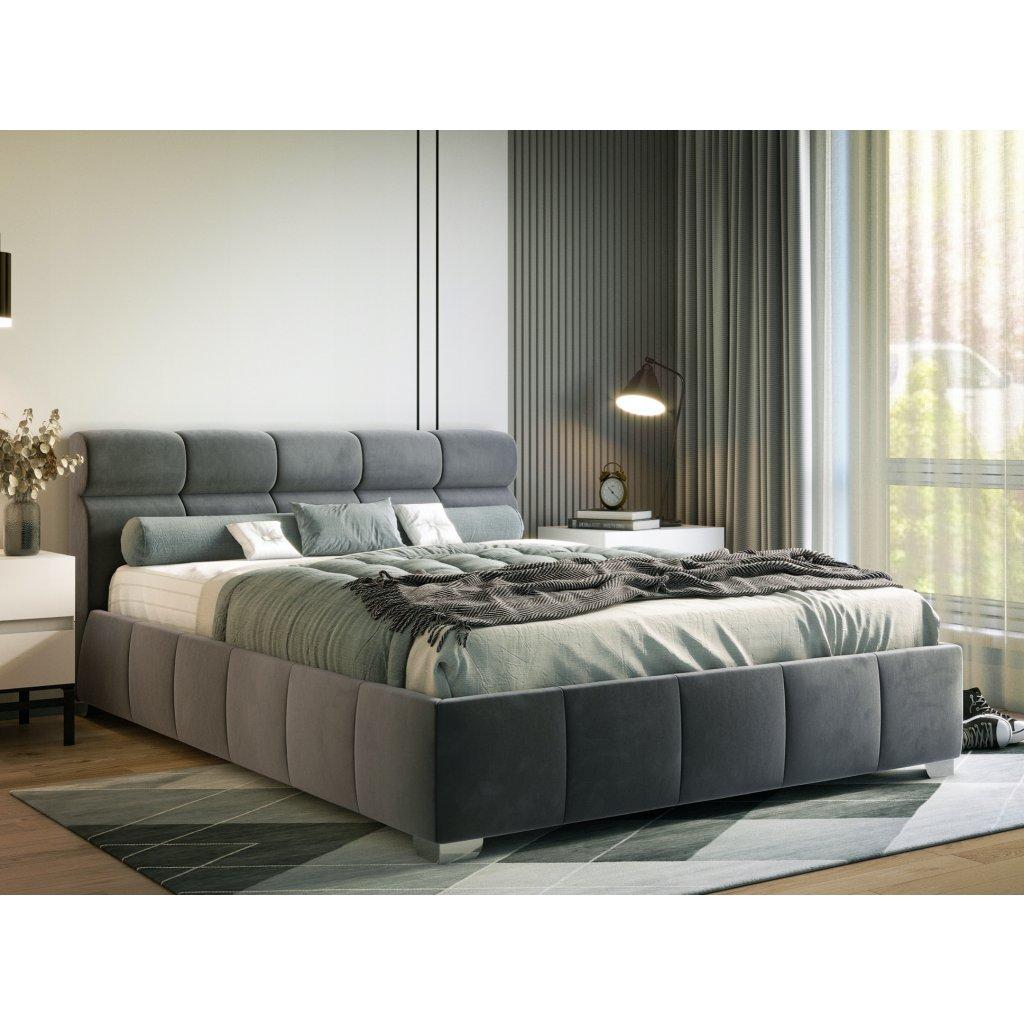 PROXIMA.store manzelska čalúnená posteľ Barcelona bezovy velur 3