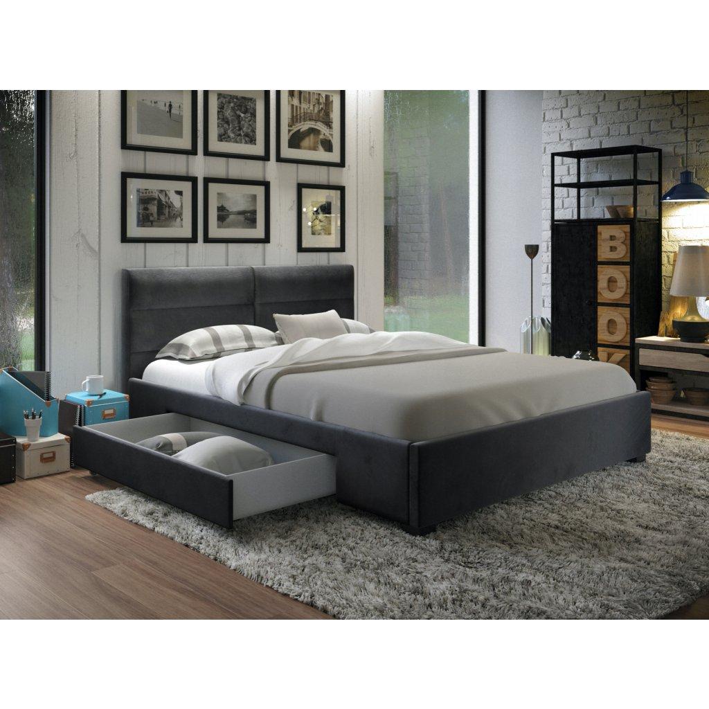 PROXIMA.store manzelska čalúnená posteľ so suflikami Napoli tmavosiva velur 1