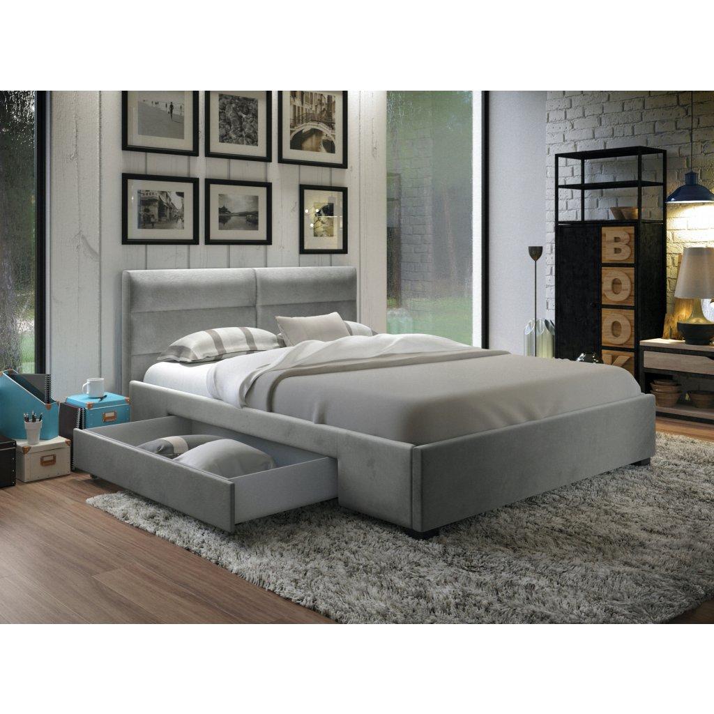 PROXIMA.store manzelska čalúnená posteľ so suflikami Napoli bledosiva velur 1
