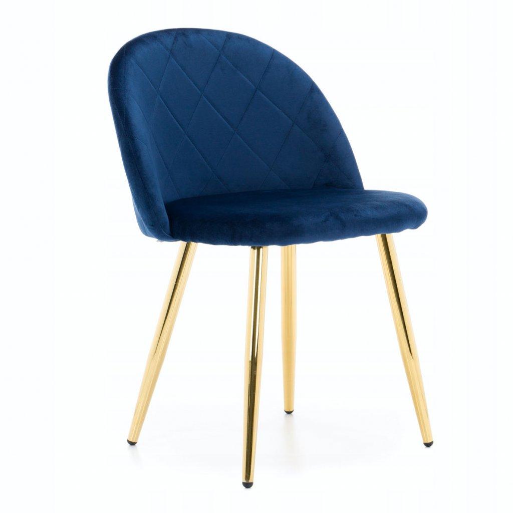 PROXIMA.store jedálenská stolička MODENA 1 modrá zlaté nohy 1
