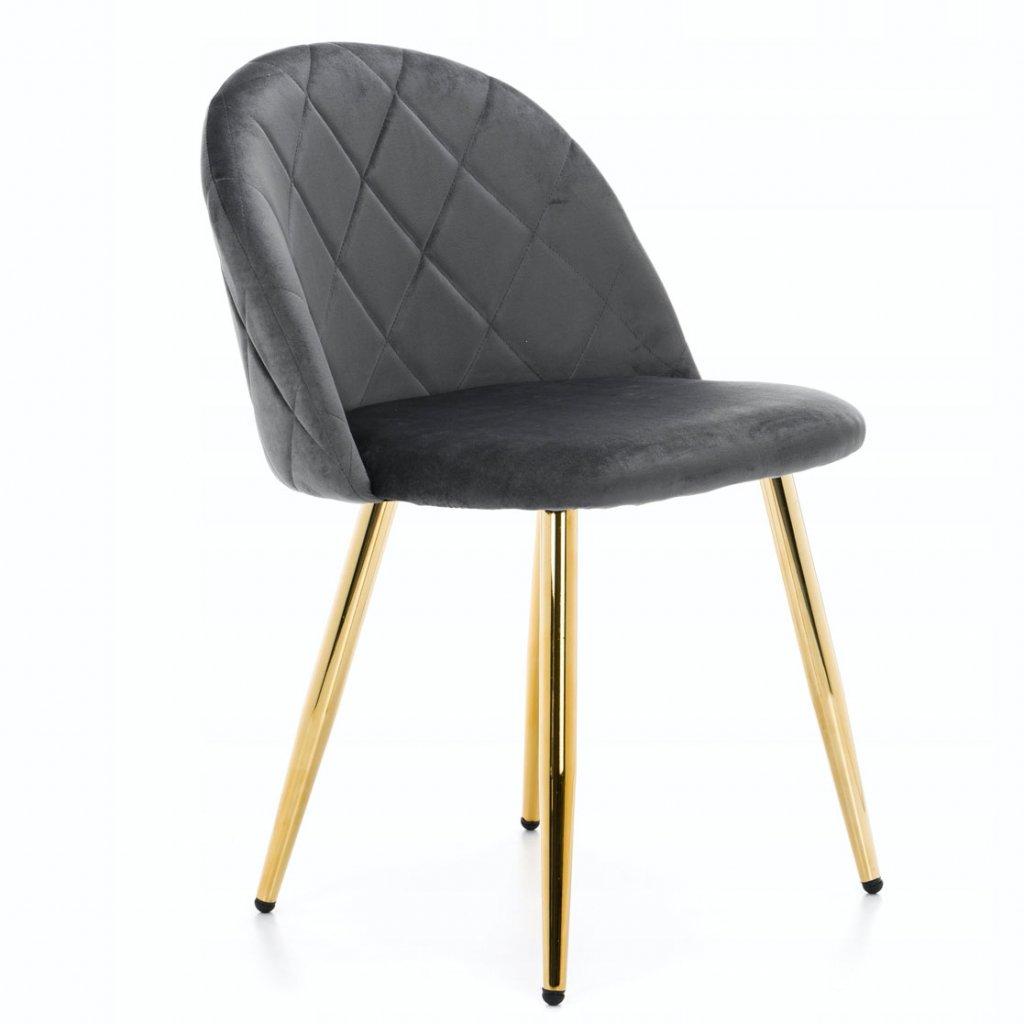PROXIMA.store jedálenská stolička MODENA 1 tmavosivá zlaté nohy 2