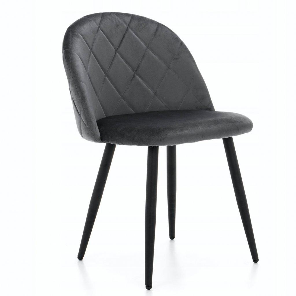 PROXIMA.store jedálenská stolička MODENA 3 tmavosivá kovové čierne nohy 8