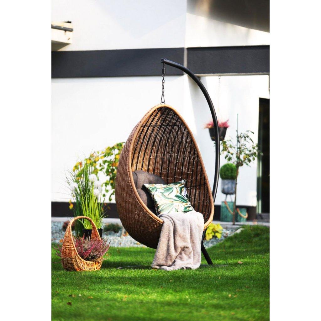 PROXIMA.store luxusne zahradne hojdacie kreslo corsica splnym upletom hnede 2