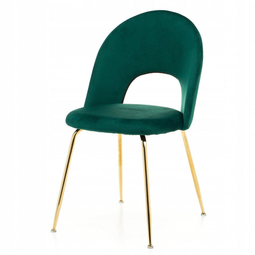 PROXIMA.store dizajnova stolicka luxury II so zlatymi nohami zelena 4