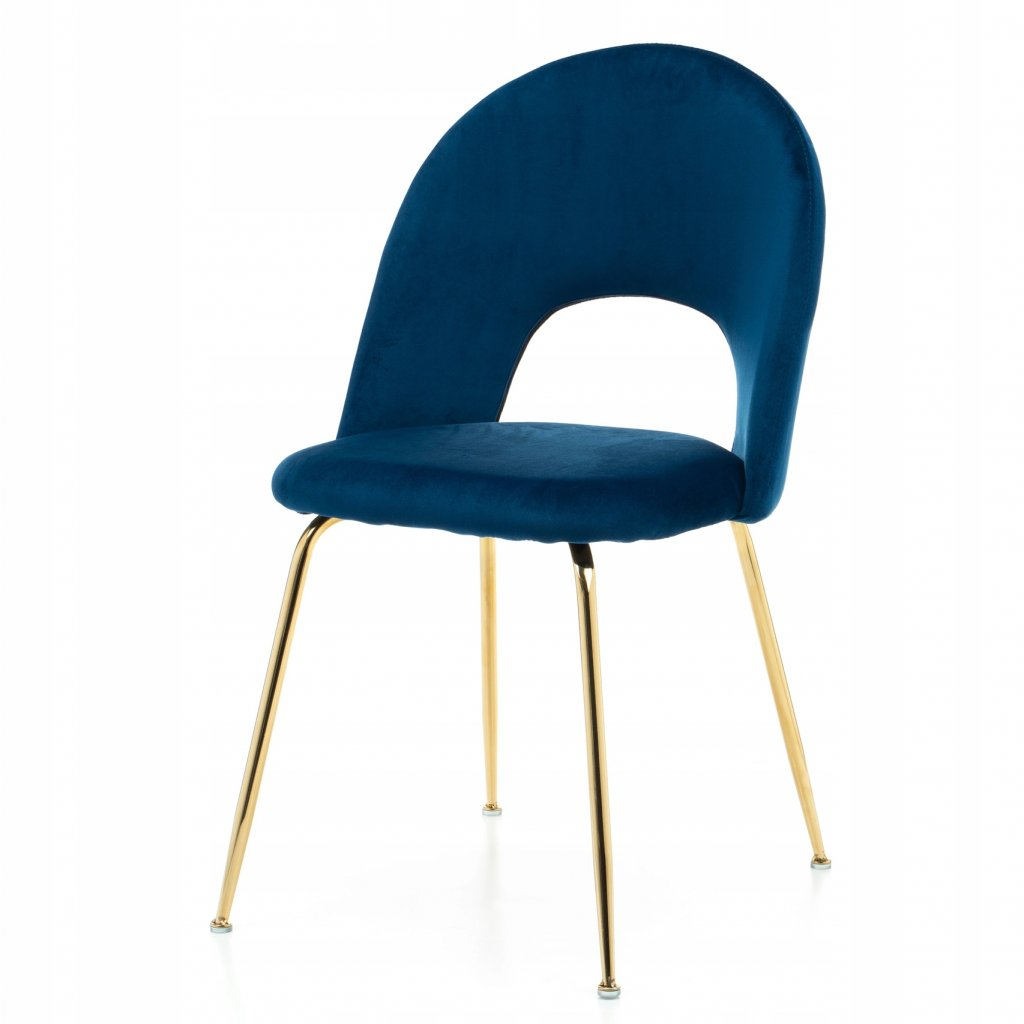 PROXIMA.store dizajnova stolicka luxury II so zlatymi nohami modra 4