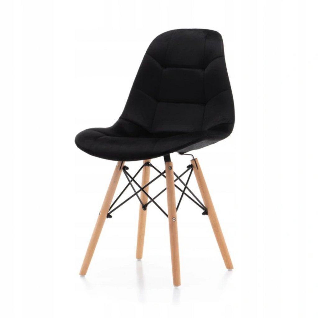 PROXIMA.store čalunena stolicka skandinavsky dizajn MOON čierna bukové nohy 4