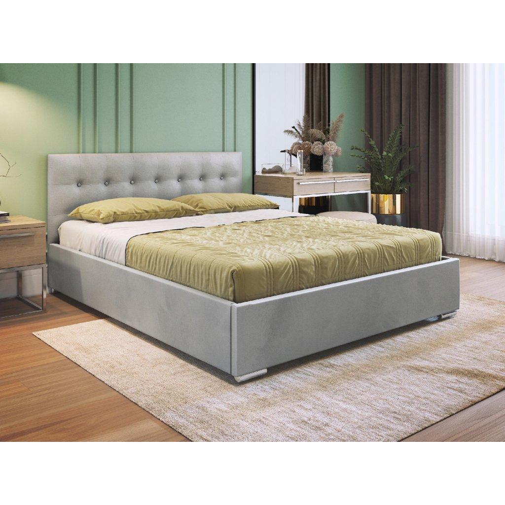 PROXIMA.store manzelska calunena postel s ukladacim priestorom a rostom v cene coria svetlosiva 4