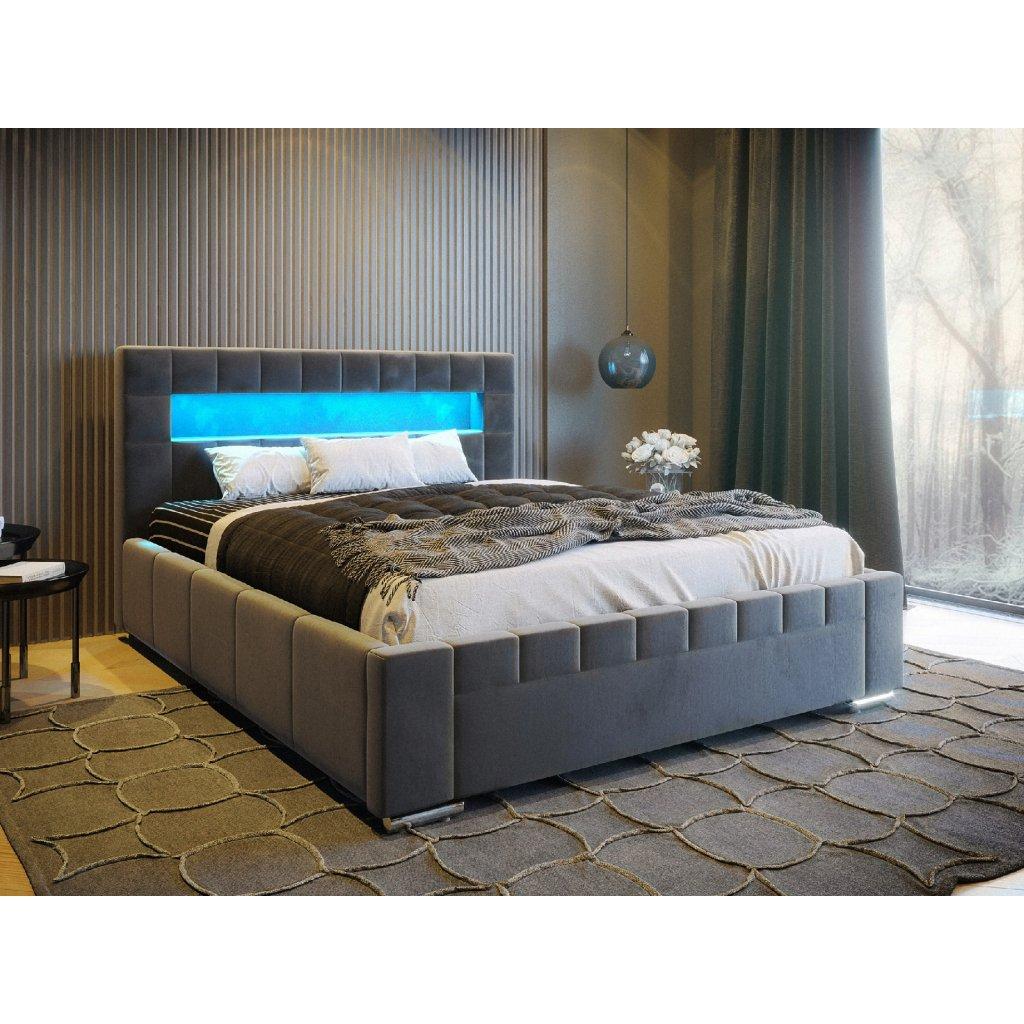 PROXIMA.store manzelaska calunena postel VEGAS s podsvietenim LED RGB tmavosivy velur 5