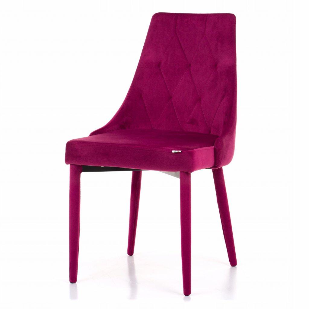 PROXIMA.store jedalenska stolicka taliansky dizajn VOLTURNO velurova celocalunena rubinova farba 9