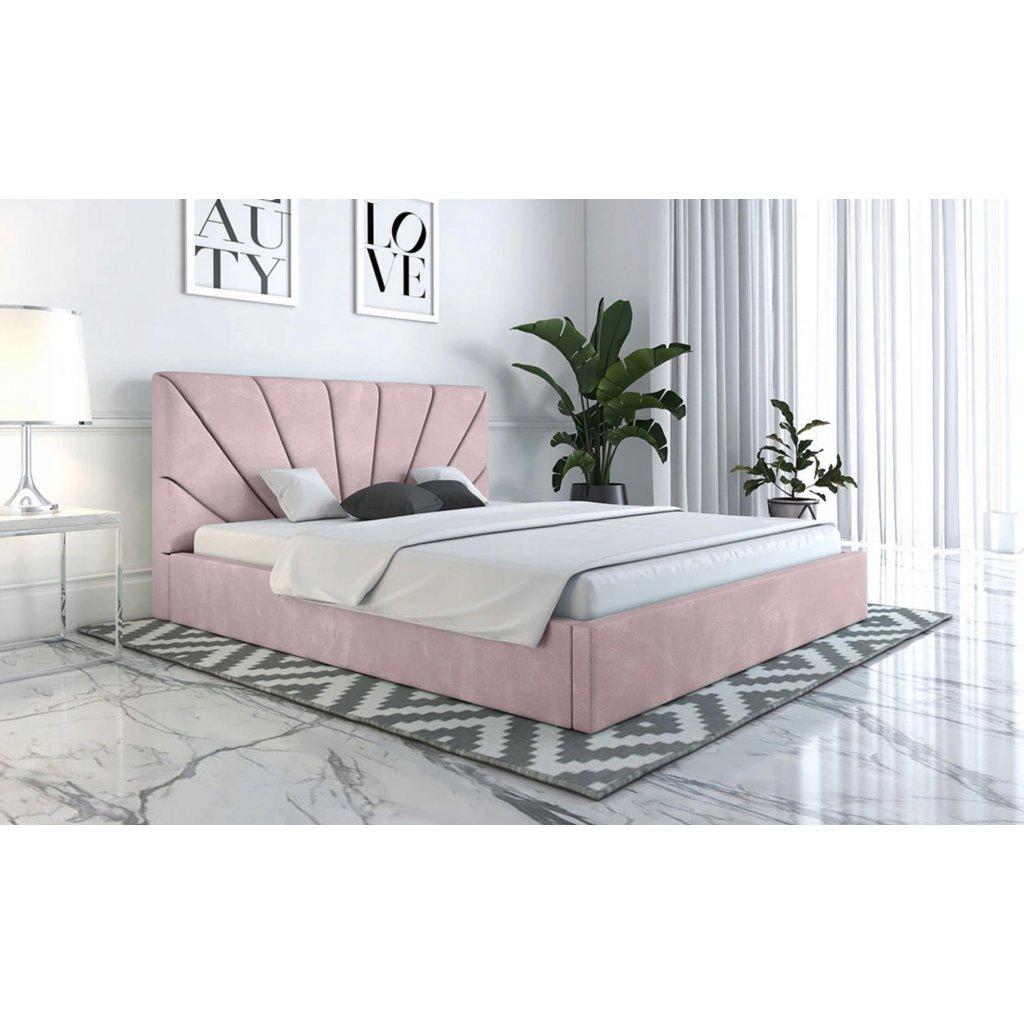PROXIMA.store manzelska calunena postel na mieru SLIM 3 ruzova
