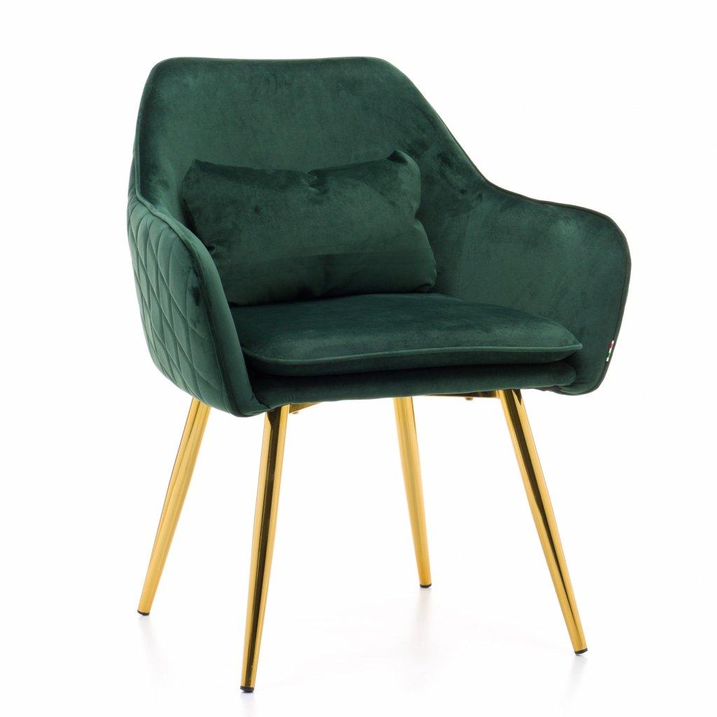 PROXIMA.store jedalenske kreslo taliansky dizajn VOMANO velur zelena 4