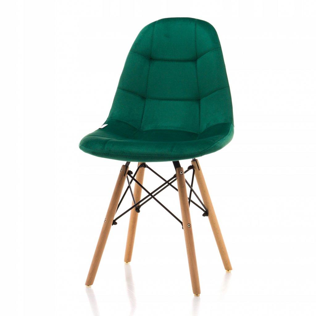 PROXIMA.store čalunena stolicka skandinavsky dizajn MOON zelená bukové nohy 2