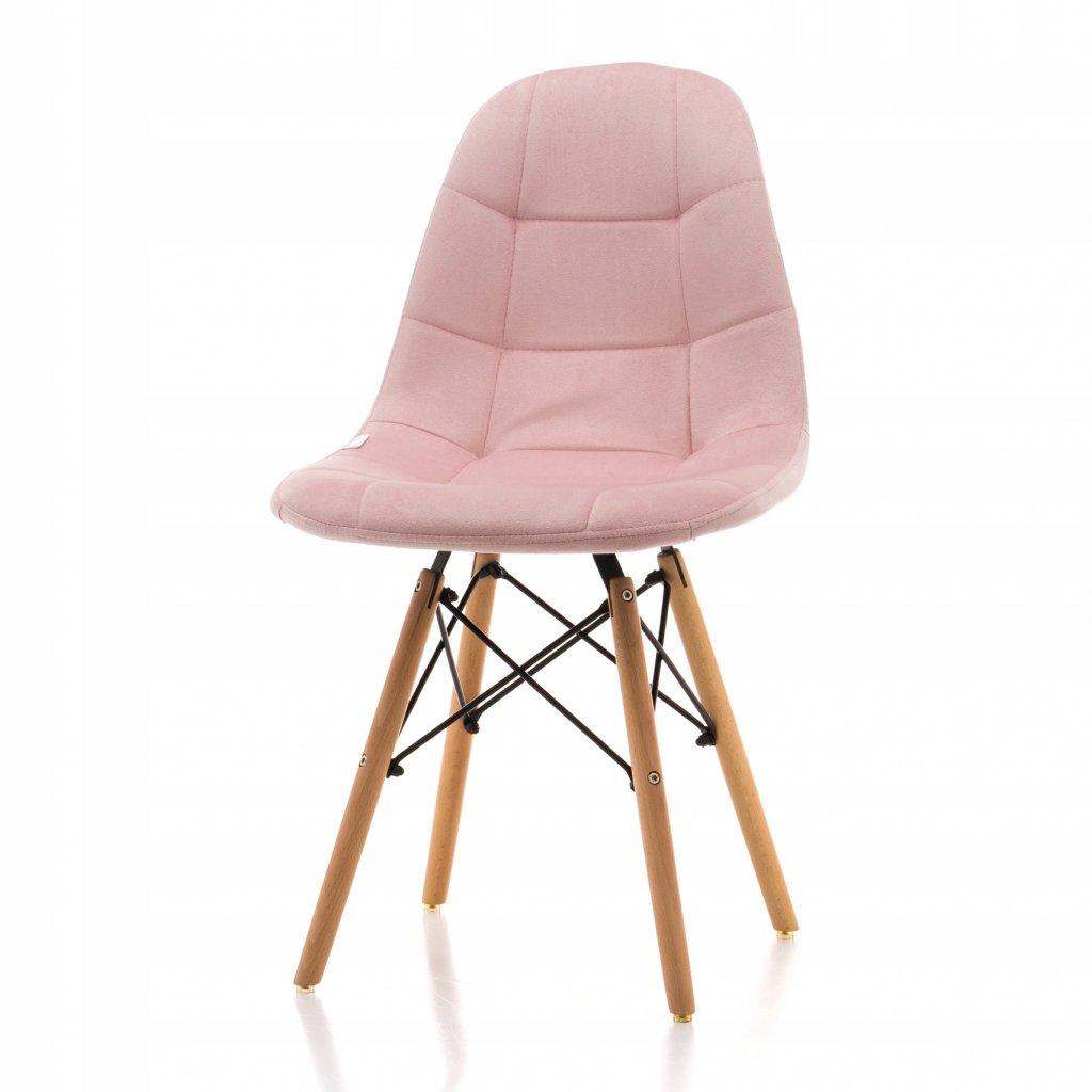 PROXIMA.store čalunena stolicka skandinavsky dizajn MOON ružová bukové nohy 2