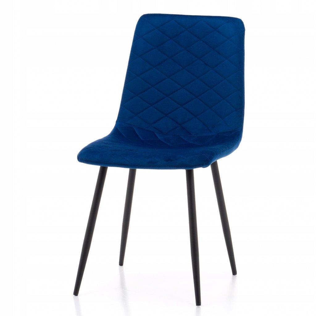 PROXIMA.store jednoducha jedalenska stolicka skovovymi nohami SIMPLE modra 4