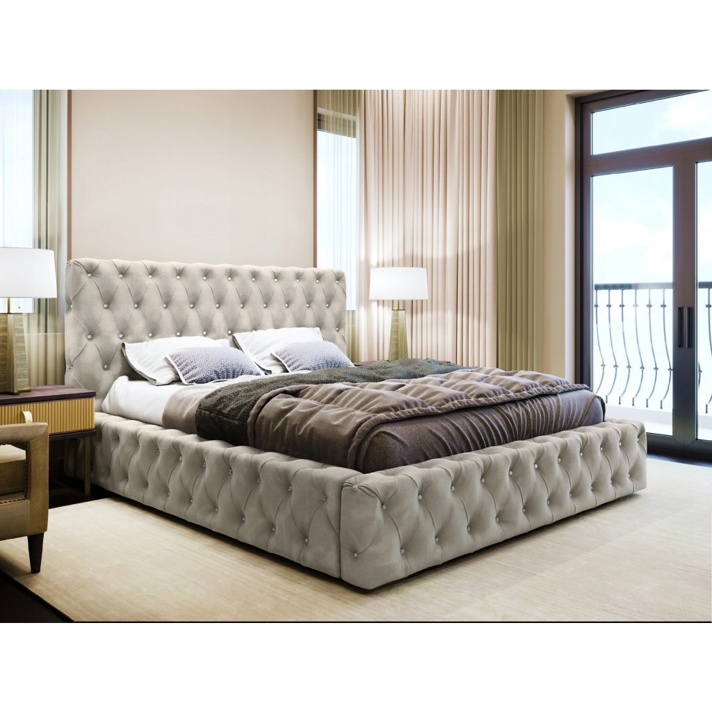 PROXIMA.store calunena luxusna postel s gombikami SEVILLA II svetlosivy velur 2
