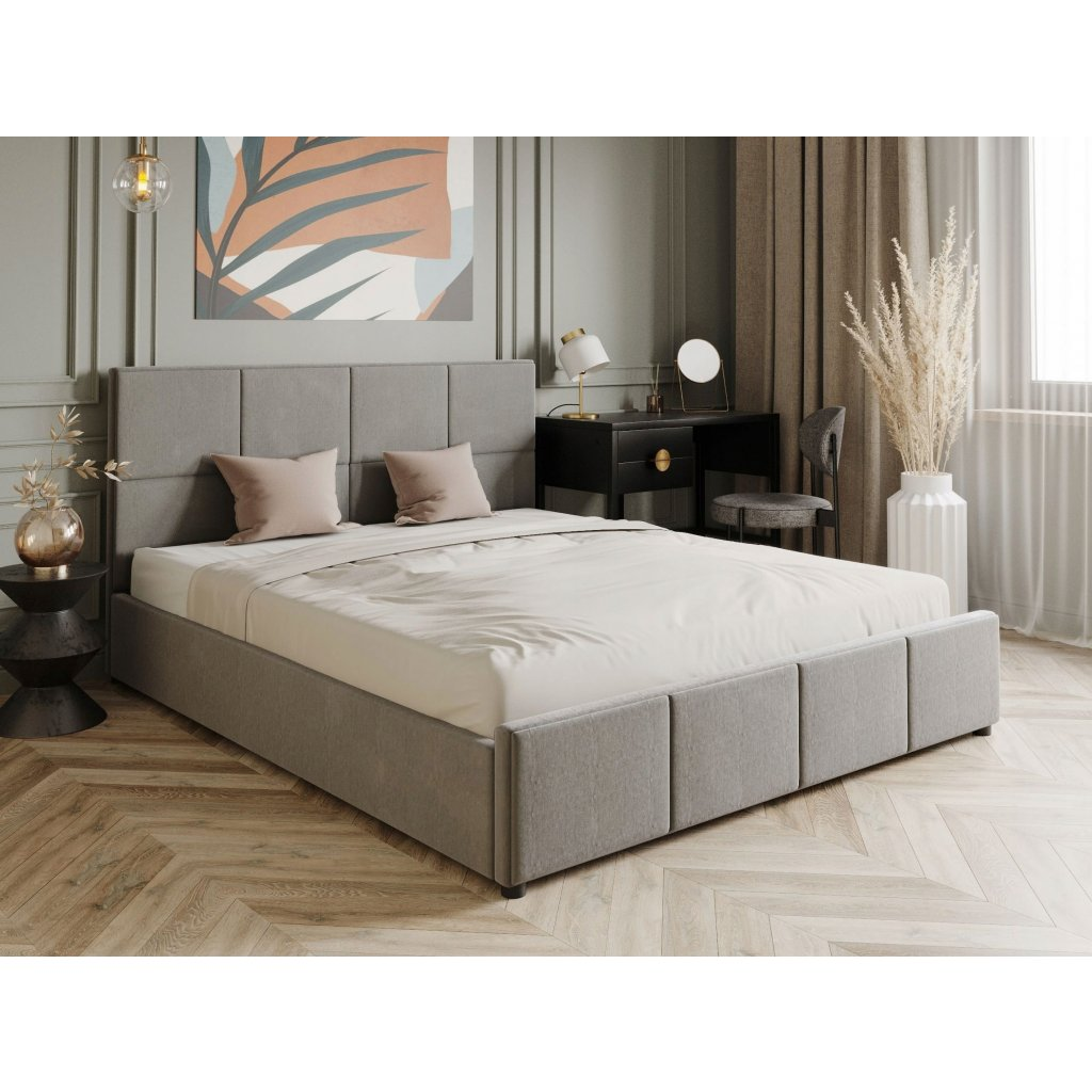 PROXIMA.store luxusna calunena postel FABRIZZIO svetlosivy velur 4