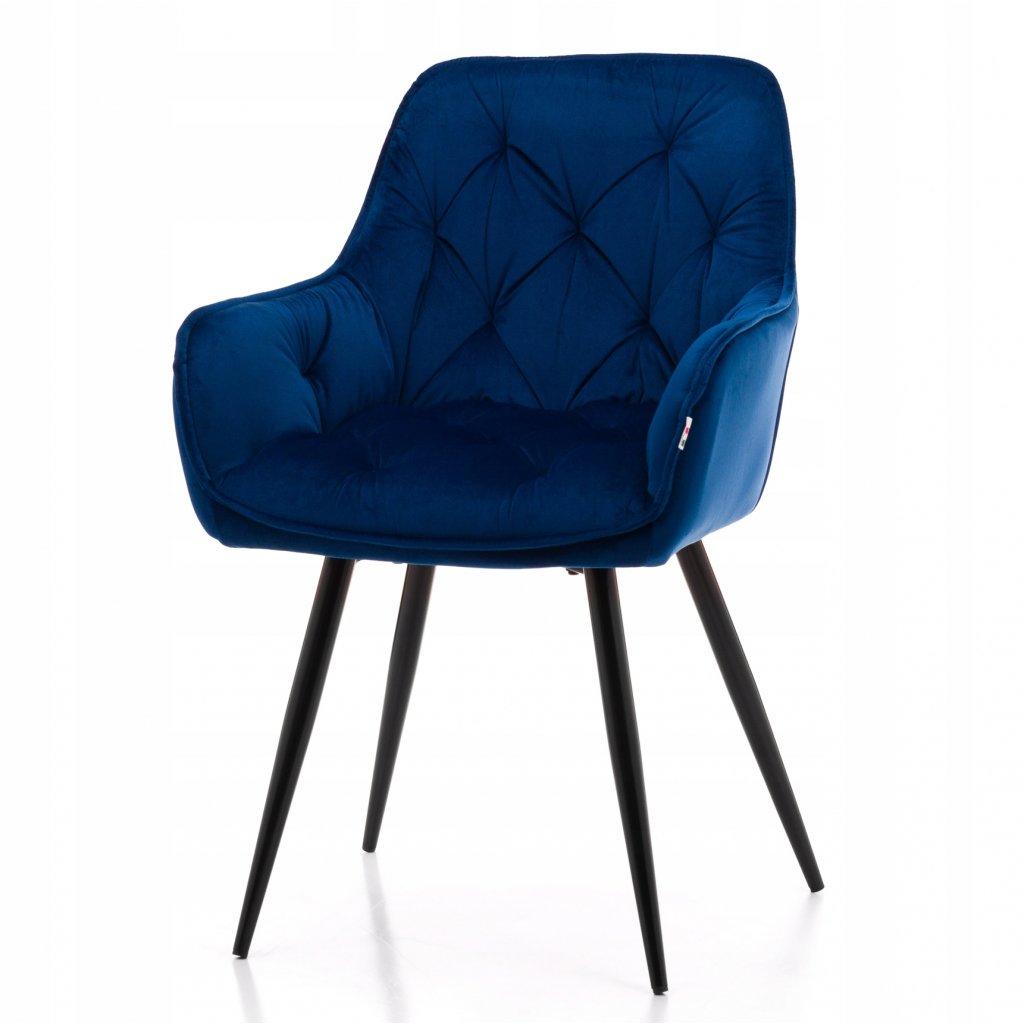 PROXIMA.store jedalenske luxusne kreslo CERVARO velur modra farba 7