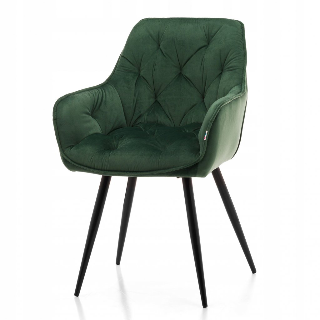 PROXIMA.store jedalenske luxusne kreslo CERVARO velur zelena farba 7