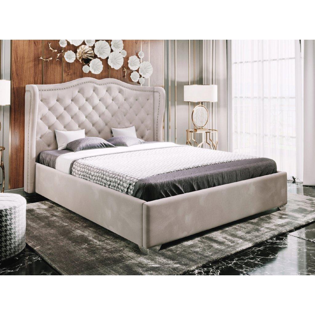 PROXIMA.store luxusna calunena postel BOLONIA 2 s uloznym priestorom bezova 1