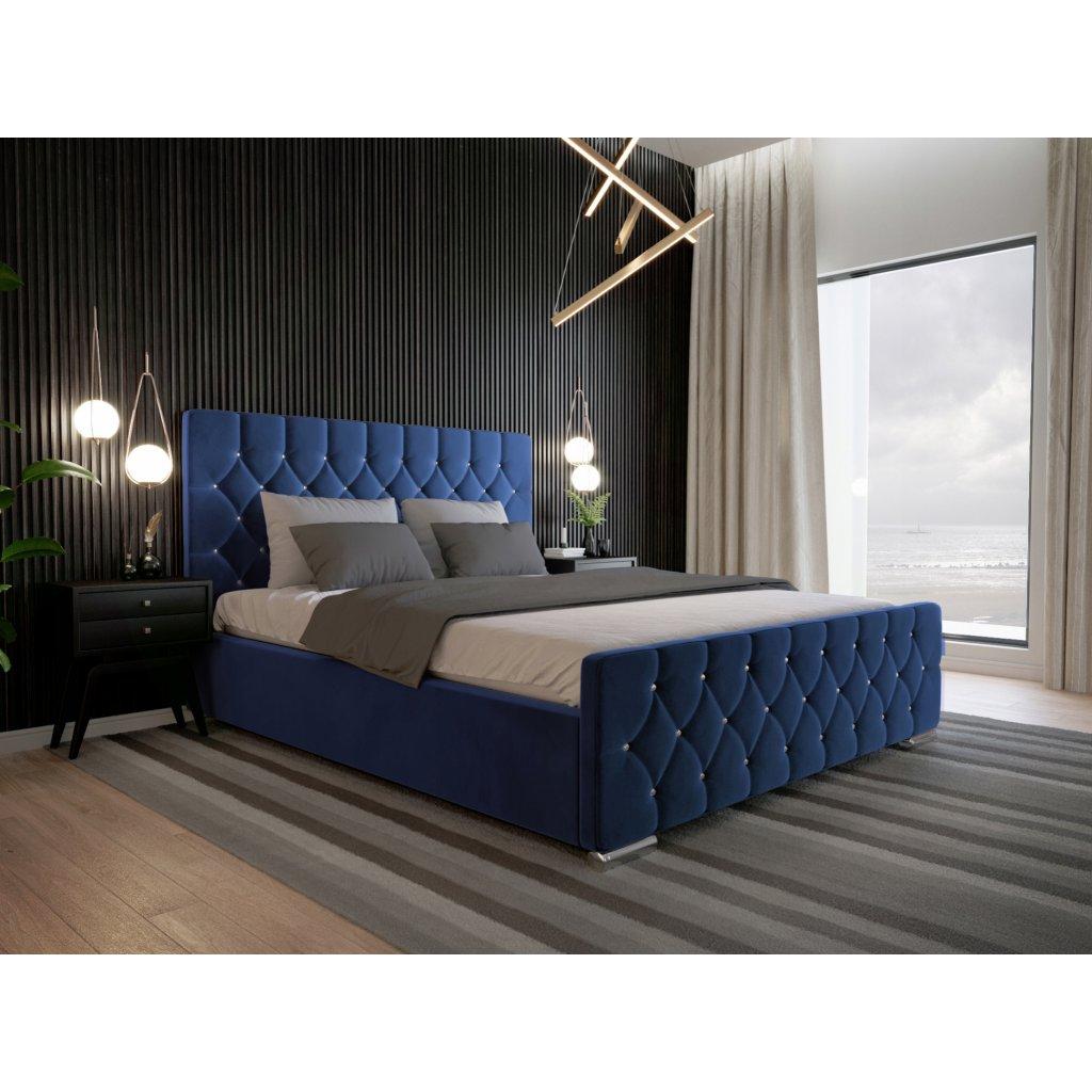 Luxusná posteľ Amadeus - Modrá 140/160/180