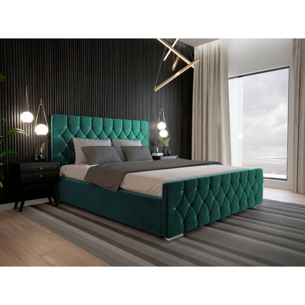 Luxusná posteľ Amadeus - Zelená 140/160/180