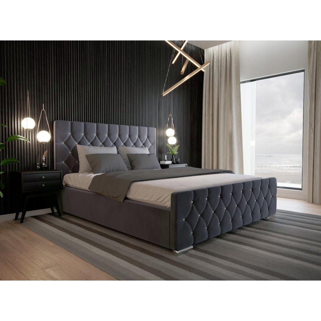 Luxusná posteľ AMADUES - Tmavo sivá 140/160/180
