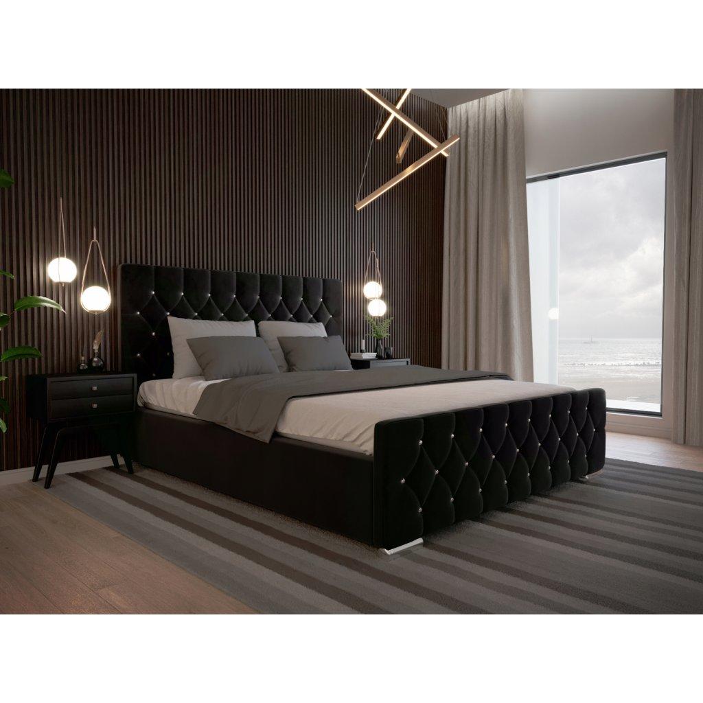 Luxusná posteľ AMADEUS - Čierna 140/160/180