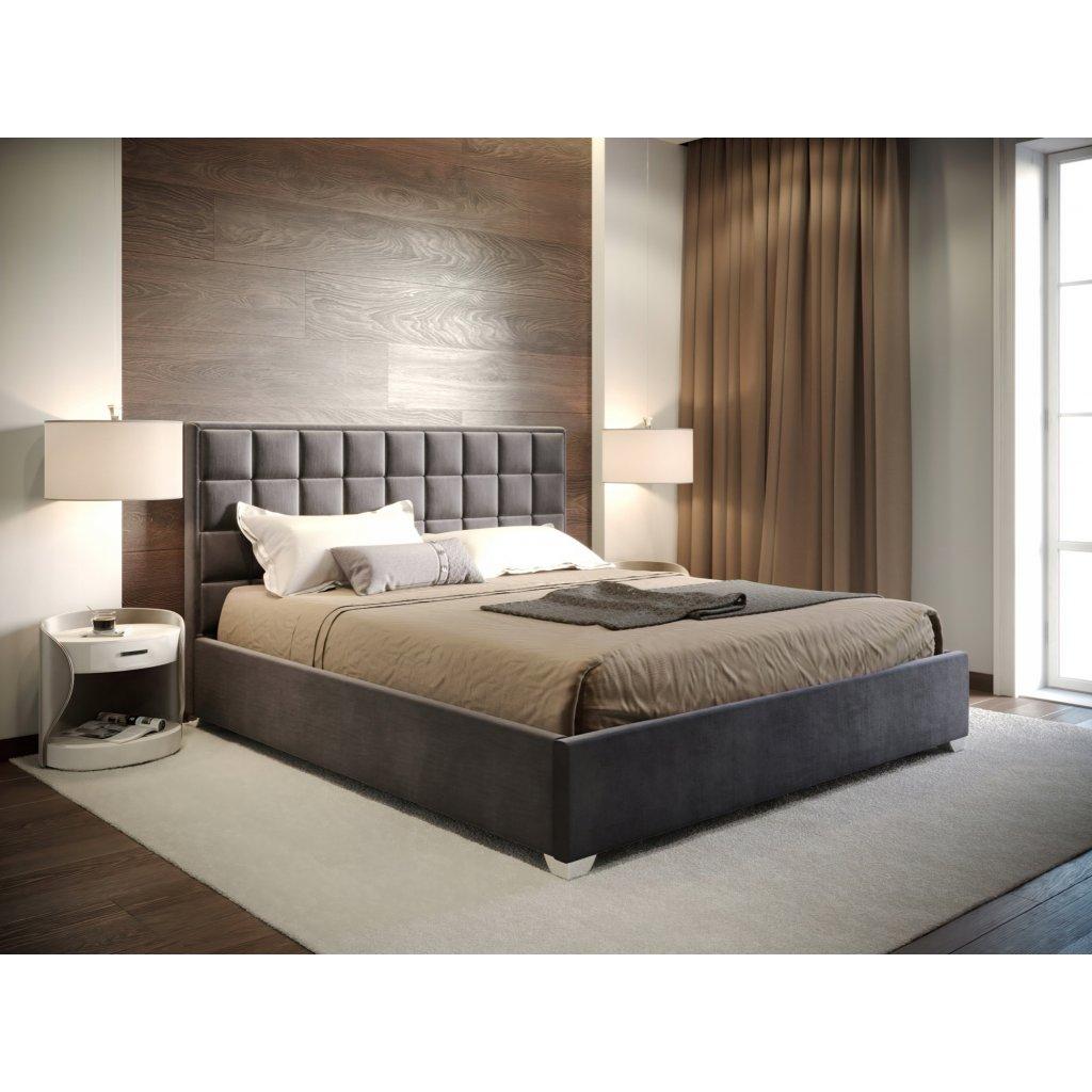 Manželská posteľ MONZA - tmavo sivá - 140/160/180