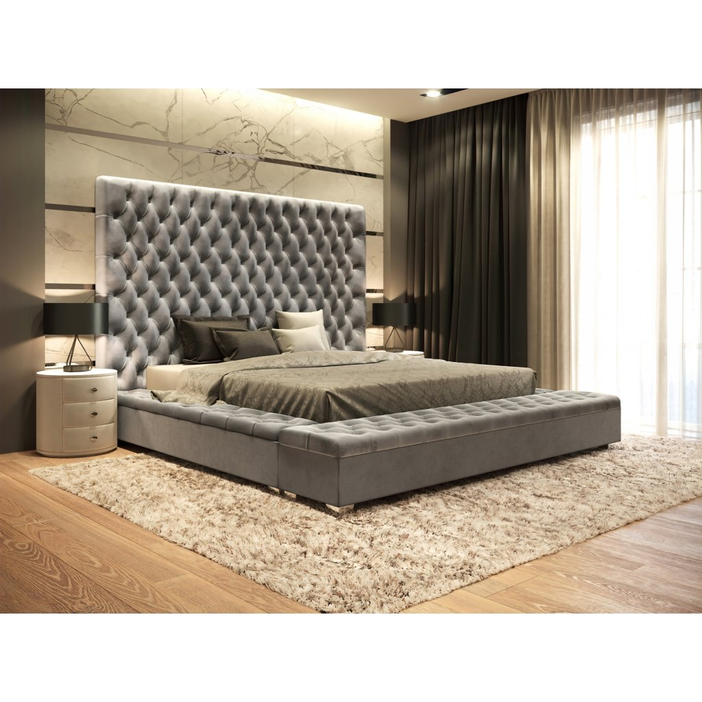 Kráľovská manželská posteľ QUEEN - Sivá 140/160