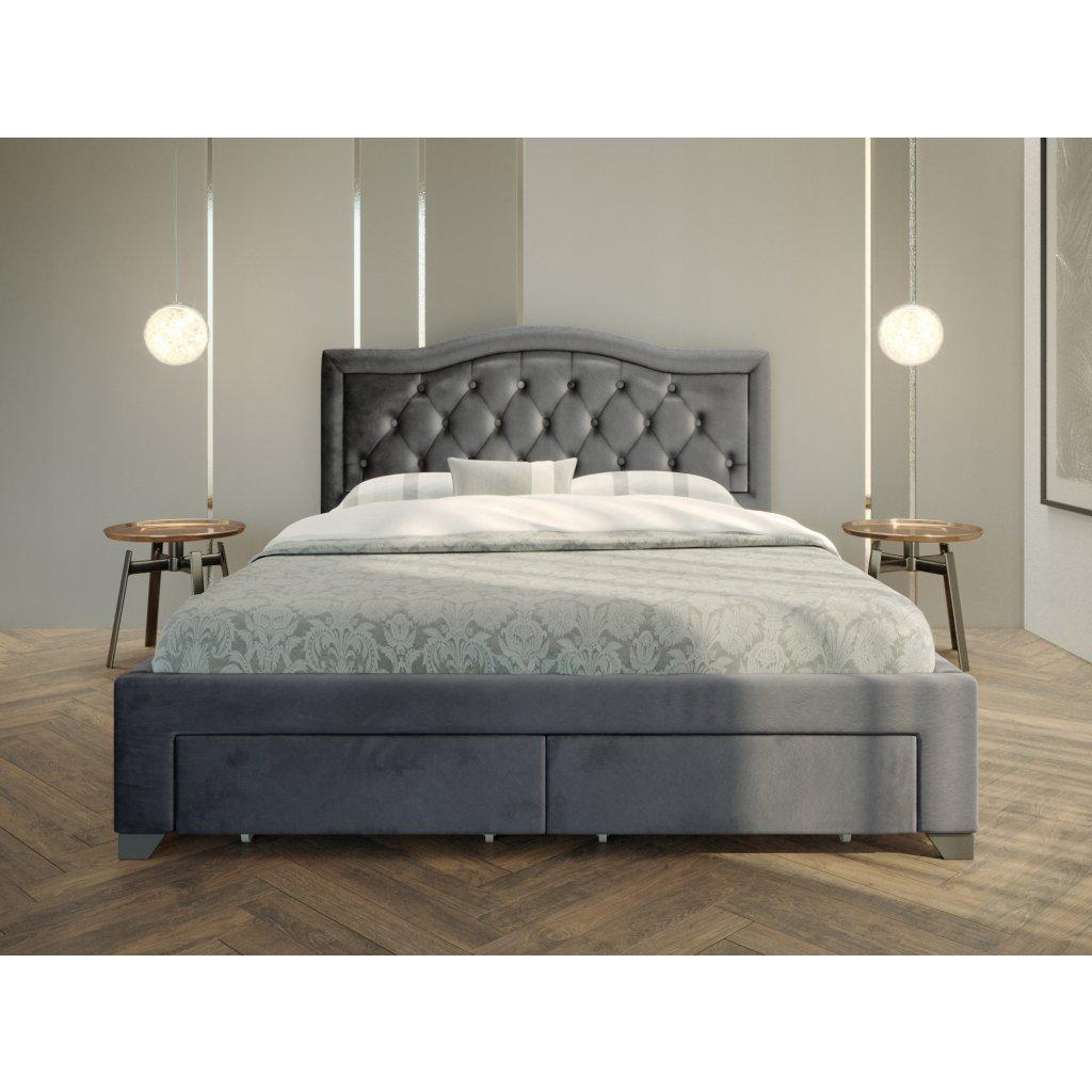 PROXIMA.store Manželská posteľ electra Tmavosivá 2