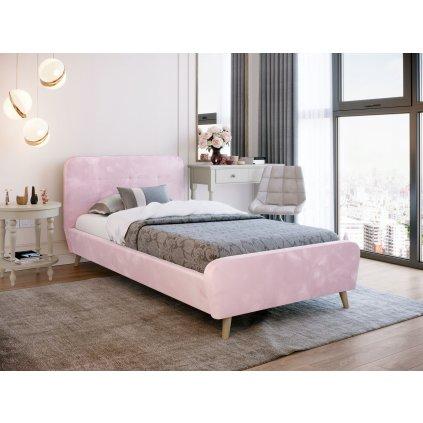 PROXIMA.store Čalúnená jednolôžková posteľ TIFFANY púdrovo ružová 90x200 2