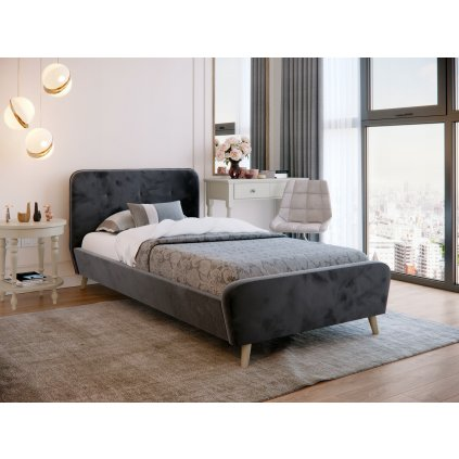 PROXIMA.store Čalúnená jednolôžková posteľ TIFFANY tmavosivá 90x200 2