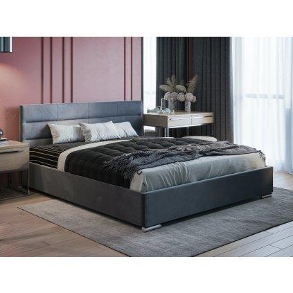 PROXIMA.store moderna calunena postel bari s nadcasovym dizajnom tmavosiva 2