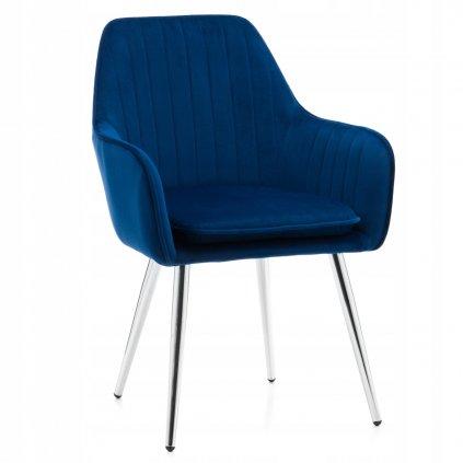 PROXIMA.store modre čalúnené jedálenské kreslo ELEGANT II strieborne nohy 1
