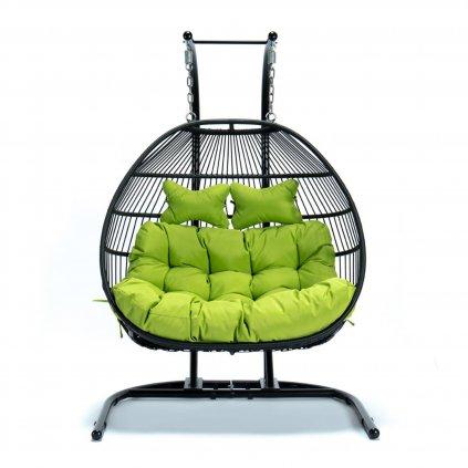 PROXIMA.store luxusne hojdacie kreslo so šnúrkami pre dve osoby zelene 1