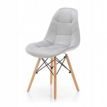 PROXIMA.store čalunena stolicka skandinavsky dizajn MOON svetlosivá bukové nohy 4