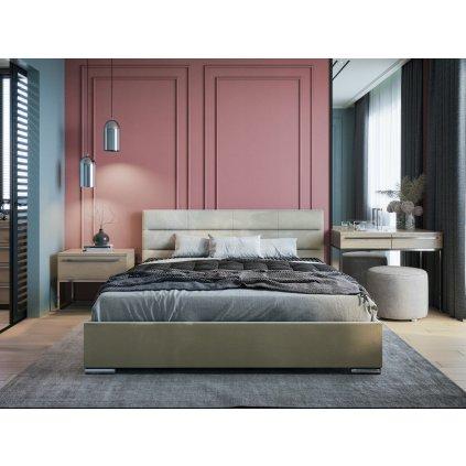 PROXIMA.store moderna calunena postel bari s nadcasovym dizajnom béžová 3