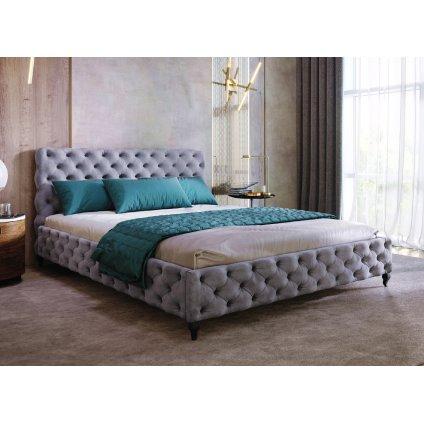 PROXIMA.store chesterfield calunena postel DESIRE vyrobena na mieru velur 1